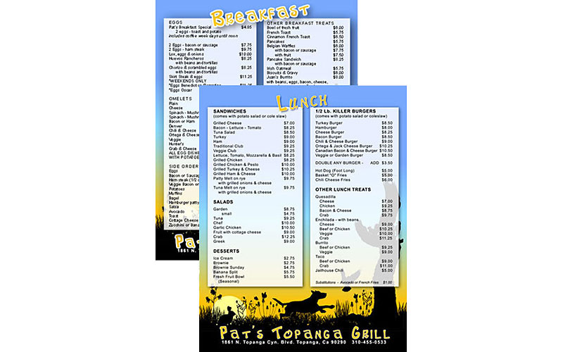Pat's Topanga Grill - menu